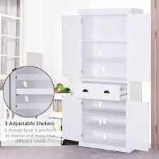 homcom kitchen pantry cupboard wooden storage cabinet organizer shelf white homcom traditional freestanding kitchen pantry cabinet cupboard with doors and 3 adjustable shelves white