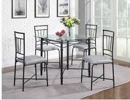 Dining Room Table Glass Amazon Com 5 Piece Delphine Glass Top Metal Dining Set Black