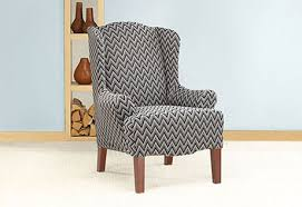 sure fit slipcovers wing chair sure fit slipcovers stretch chevron wing chair slipcover wing