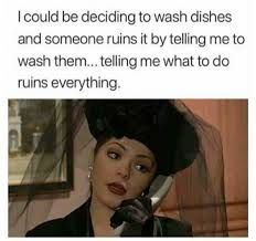 Dishes Meme - i could be deciding to wash dishes and someone ruins it by telling