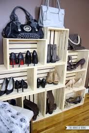 wooden crate wall shelves easy shoe storage display the house of wood