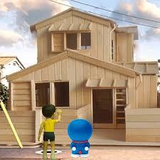toothpick house doraemon little house diy made ice cream stick wooden stick