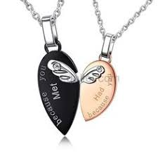 Engraved Necklaces For Couples Matching 2 Part Necklaces For Couples Set Of Two Couples
