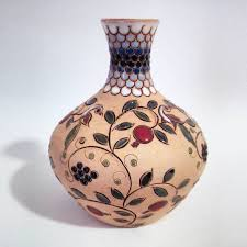 unique ornamental vase from one thrown on pottery wheel this