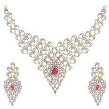 gold with diamond necklace images Gold diamond necklace set at rs 371000 piece gold necklace set jpg