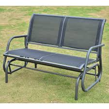 Two Person Swing Chair Outsunny Outdoor Textilene Double Swing Bench Grey Aosom Co Uk