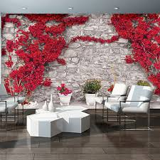 grey wallpaper with red flowers photo wallpaper red flower flowers grey wall wall mural 3582ve ebay