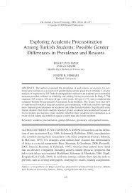 Counseling The Procrastinator In Academic Settings Pdf Exploring Academic Procrastination Among Students