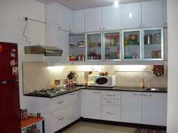 inspiring ideas for tiny house kitchen design tiles astonishing l shaped wooden kitchen cabinets in white gloss finishing with black granite countertop and cream