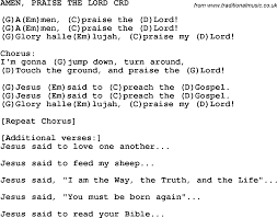 christian childrens song amen praise the lord lyrics and chords