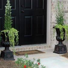 2 pack outdoor planter pots large tall urn flower black charcoal