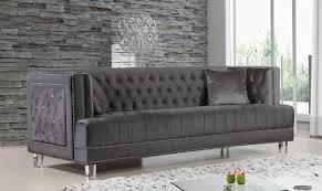 ebay sofa meridian 609 lucas living room sofa in grey velvet fabric