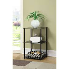 black glass lamp table convenience concepts designs2go no tools 3 tier lamp end table