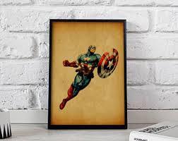 Captain America Decor Captain America Print Watercolor Art Captain America Poster