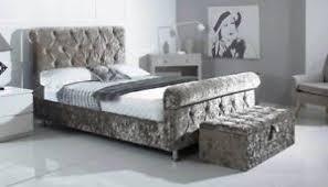 Velvet Sleigh Bed Balmoral Sleigh Crushed Velvet Bed Ebay
