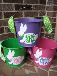 monogrammed easter buckets personalized easter 5 qt assorted colors easter