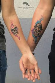 watercolor arm skull couples ink odswitudozmierzchu
