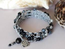 crochet necklace black images Silver and black beaded crochet multi wrap bracelet beaded n%3D1