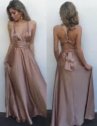 buy a line v neck floor length blush elastic satin multi way prom