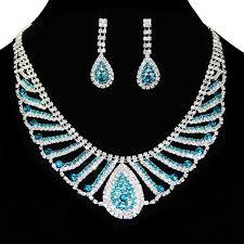 rhinestone necklace sets wholesale images Rhinestone jewelry mesh bridal sapphire rhinestones necklace set jpg