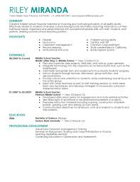 Resume Teacher Examples Sample Teacher Resume California
