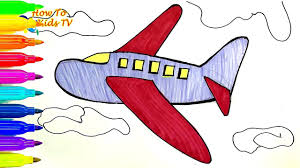 draw airplane learning coloring book drawing kids