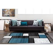 Modern Black Rug Blue Black White Grey Polypropylene Contemporary Modern Boxes Area