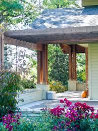 front porch pergola exterior midcentury with clean deck entrance