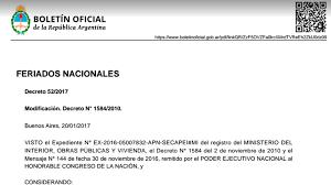 Calendario 2018 Argentina Ministerio Interior Por Decreto Establecieron Cambios En El Calendario De Feriados Y
