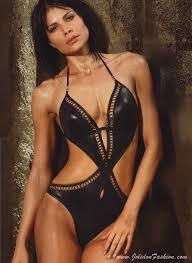 designer monokini glossy black cutout monokini swimsuit jolidon designer swimwear