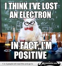 Chemistry Jokes Meme - chemistry cat electrons are in fact negative not positive which