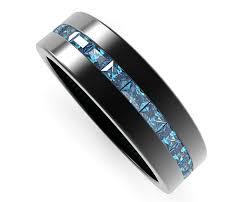 Blue Diamond Wedding Rings by Black Gold Rings Baguette Blue Diamond Wedding Band For Mens