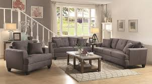 Charcoal Living Room Furniture Samuel Sofa In Charcoal Fabric 505175 By Coaster W Options