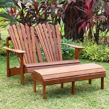 Patio Chair With Ottoman Furniture Double Brown Teak Adirondack Chairs With Wooden Ottoman