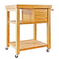 rolling bamboo kitchen island cart trolley cabinet w towel rack