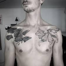 tattoo raven wolf chest tattoo tattoo for men animals birds