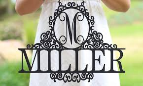 last name monogram monogrammed last name wall signs morgann hill designs groupon