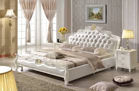 White Leather Bed Frame King European Style King Size White Synthetic Leather Bed Bedroom