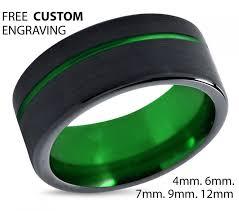mens black rings tungsten ring mens black green wedding band tungsten ring tungsten