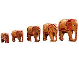 hand painted wooden elephant figurines set