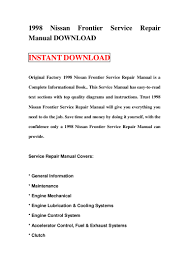 1998 nissan frontier service repair manual download
