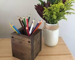 Pen Organizer For Desk Wood Desk Organizer Etsy