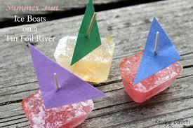tin foil river and mini ice boats reading confetti