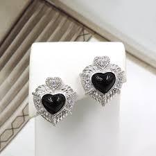 zirconia earrings judith ripka black heart cubic zirconia earrings the