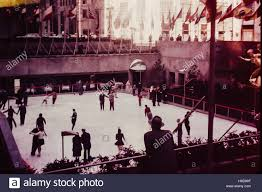 vintage rockefeller center skating nyc ny thanksgiving 1950s