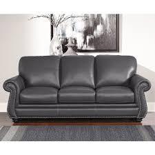Abbyson Leather Sofa Reviews Abbyson Kassidy Grey Leather Sofa Free Shipping Today