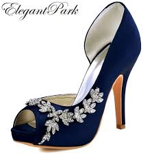 wedding shoes navy blue woman high heel platform bridal wedding shoes navy blue purple