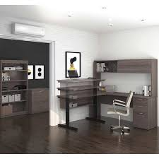 L Shaped Desk With Bookcase Digital Height Adjustable L Shape Desk With Hutch Lateral File
