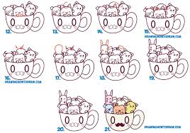 how to draw cute kawaii animals and characters in a coffee cup