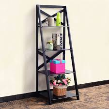 costway 4 tier ladder shelf bookshelf bookcase storage display